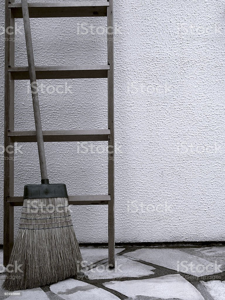 Broom and Ladder. royalty-free stock photo
