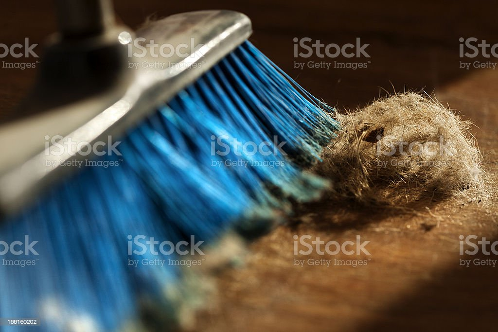 Broom, Dust and Fur Ball on Parquet Floor stock photo