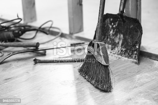 473158422 istock photo Broom in Dusty Home Renovation Project 946355228