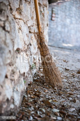 istock Broom leaning against a wall 171373732