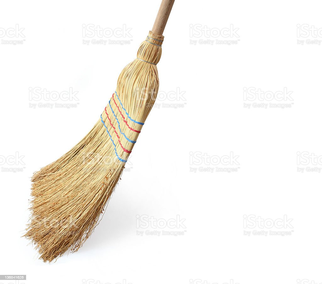 Broom Broom seeping, isolated on white background with drop shadow.. Broom Stock Photo
