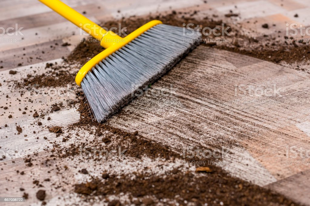 Broom Sweeping Floor Stock Photo - Download Image Now - iStock
