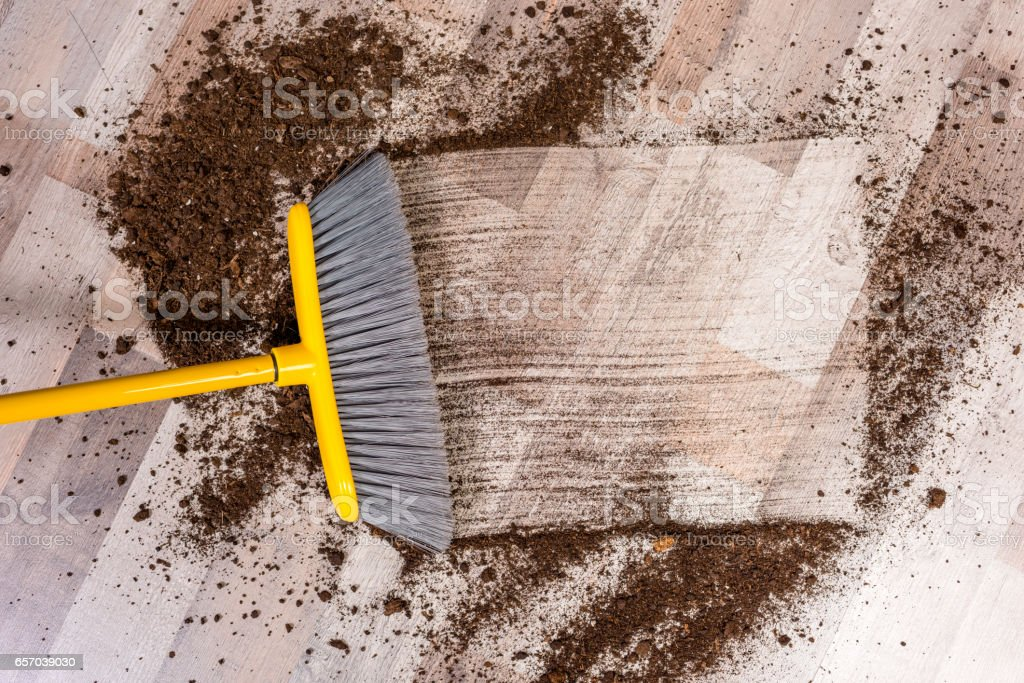 Broom sweeping floor – Foto