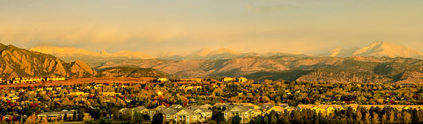 Broomfield, Colorado and the Flatiron Mountain Range stock photo