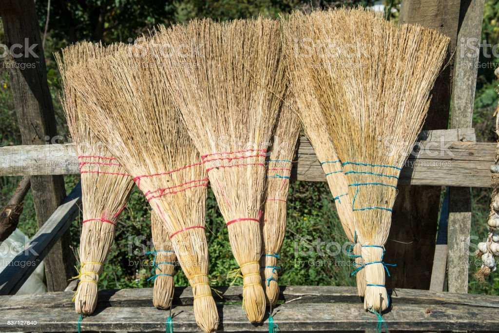 Brooms for sale stock photo