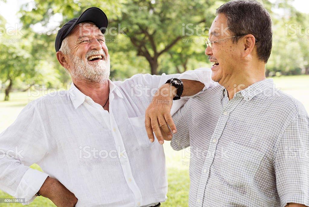 Bros Buddies Elderly Retirement Rest Talking Concept stock photo