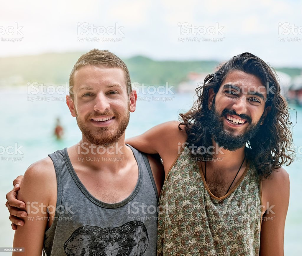 Bros day at the beach stock photo