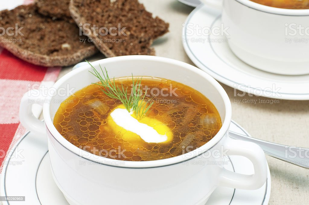 broth and bread royalty-free stock photo