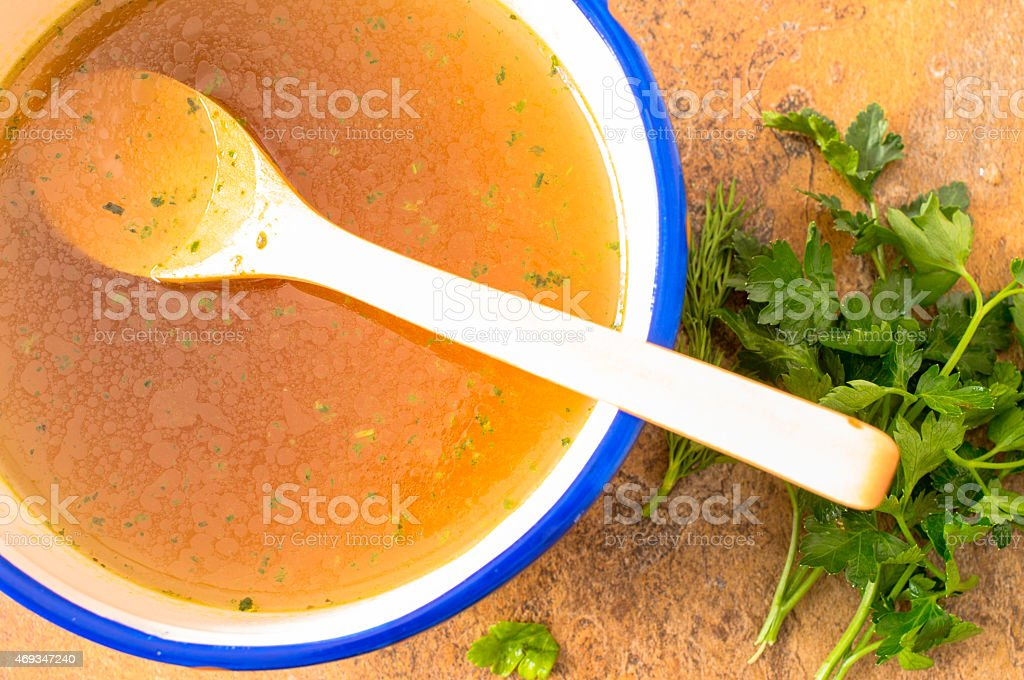 Broth top view stock photo