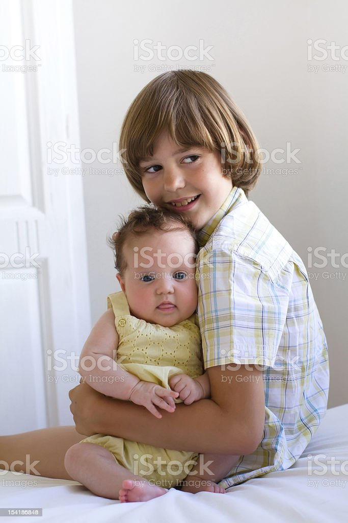 Brother and baby sister royalty-free stock photo