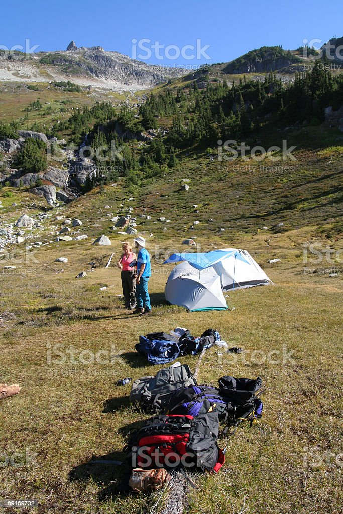 Brother and Sister at Basecamp royalty-free stock photo