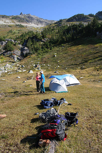 Brother and Sister at Basecamp stock photo
