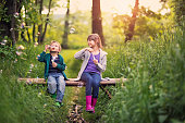 Little boy aged 5 and his elder sister aged 9 are playing on the small bridge in the forest. They are enjoying beautiful nature and blowing bubbles,