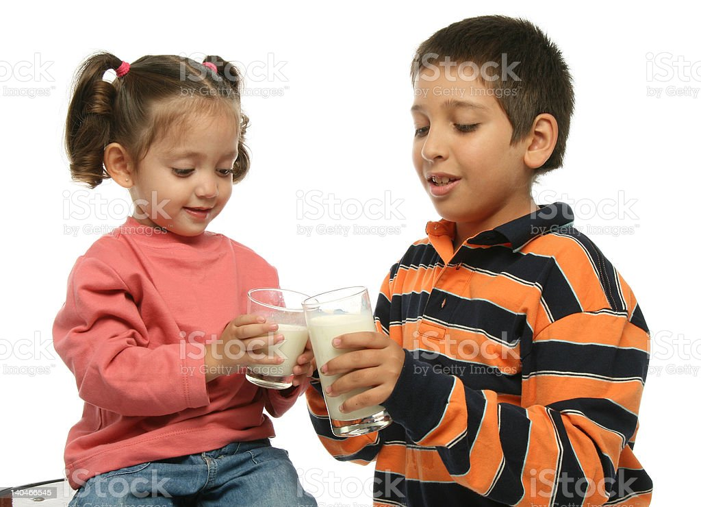 Brother and sister drinking milk royalty-free stock photo