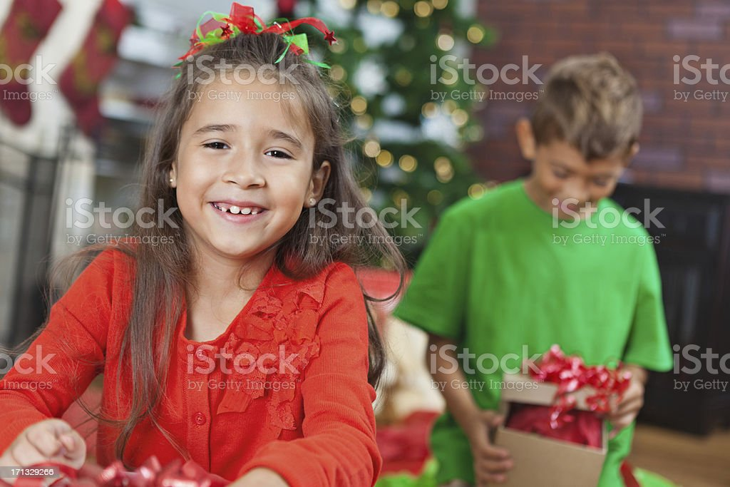 Brother And Sister Kids Opening Presents On Christmas Morning Stock ...