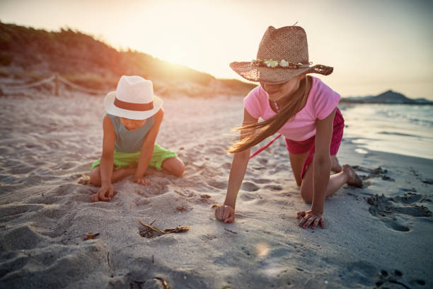 brother and sister picking up sea shells at the beach - little girl picking up sea shells at the beach stock pictures, royalty-free photos & images