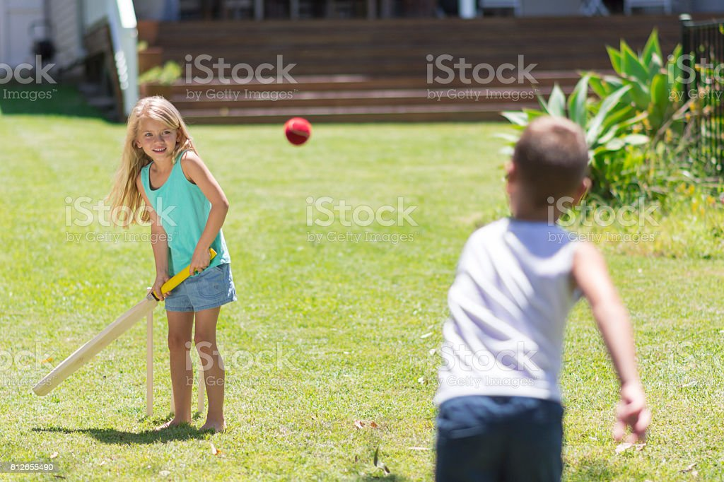 Brother and sister playing cricket stock photo