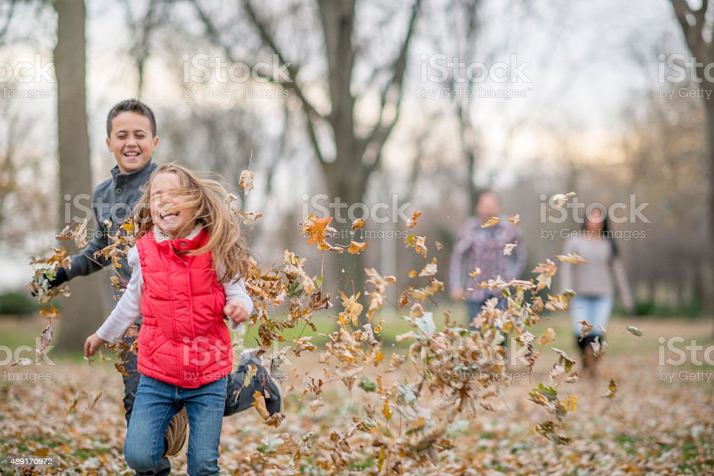 Brother and Sister Playing in Leaves stock photo