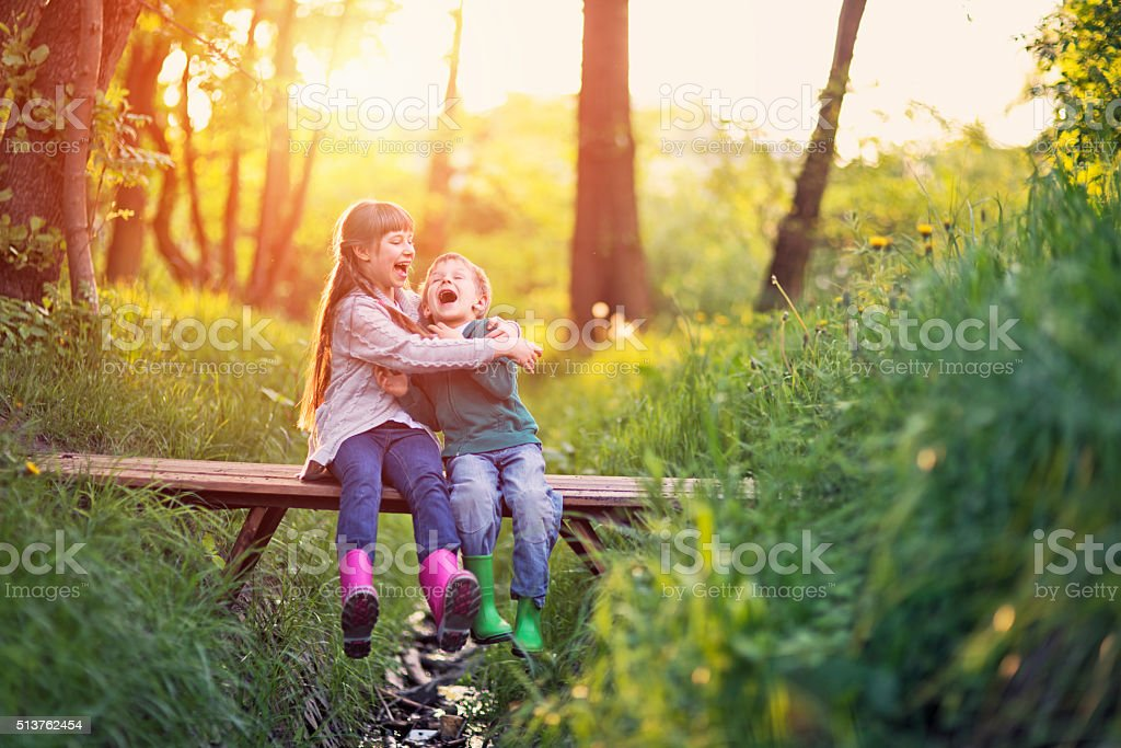 Brother and sister playing on bridge in forest stock photo