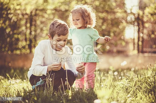 Brother and sister playing outdoors, blowing dandelions.