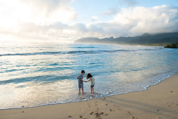 brother and sister siblings lifestyle portrait - hawaii home stock photos and pictures