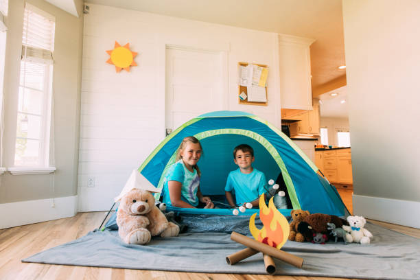 Brother and Sister Staycation stock photo