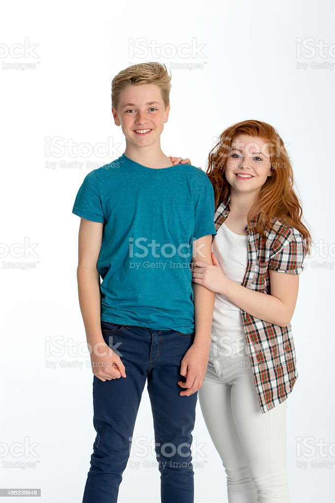 Brother and sister together stock photo