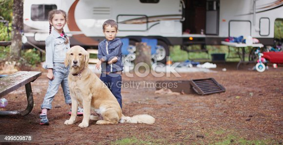 istock Brother and Sister with Their Dog 499509878