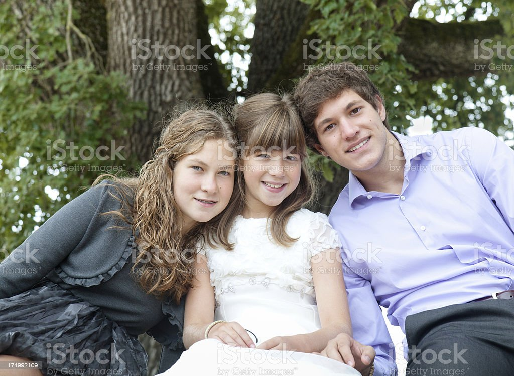 Brother ans sisters stock photo