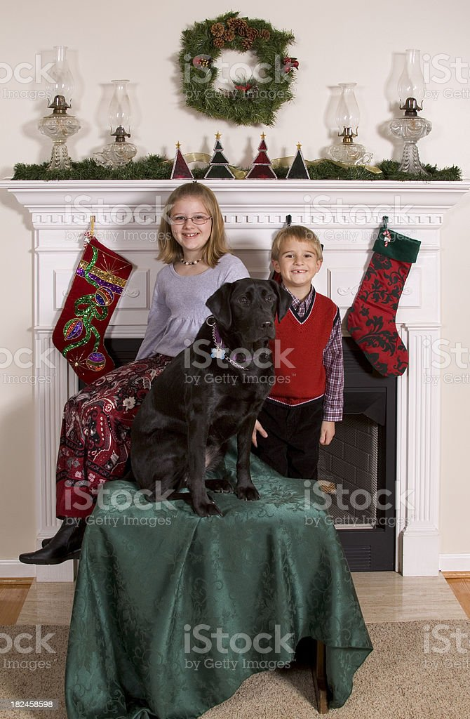 Brother, Sister & Dog Posing For Christmas Card Picture By Fireplace royalty-free stock photo