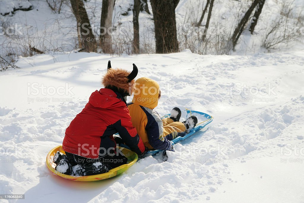 Brother Sledding Down a Big Hill in Winter stock photo