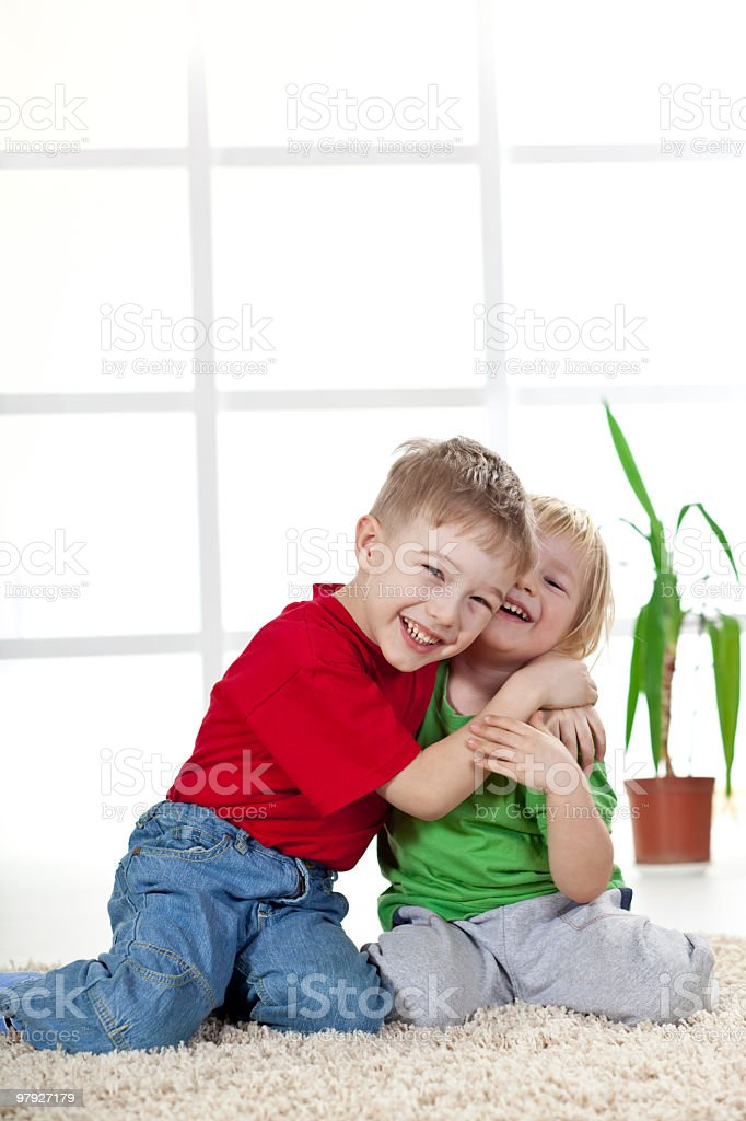 Brotherly hug royalty-free stock photo