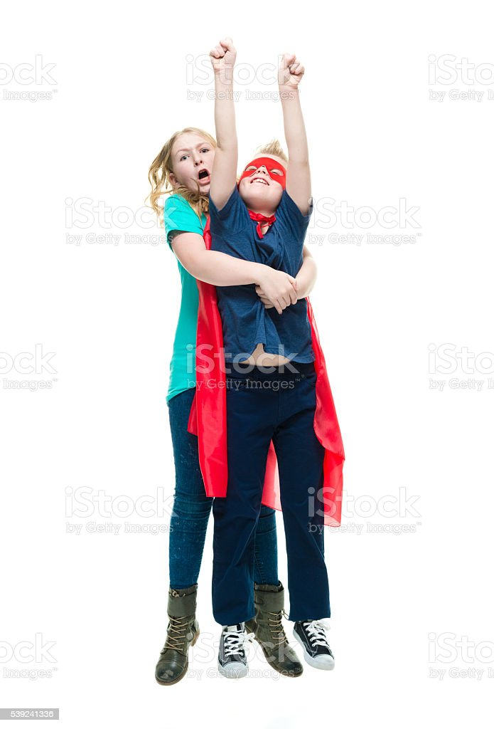 Brothers and sister flying together royalty-free stock photo