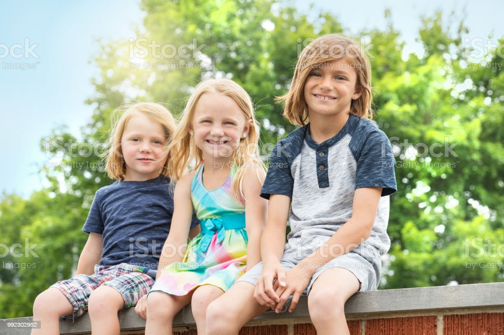 Brothers and Sister Outdoors - Royalty-free Blond Hair Stock Photo