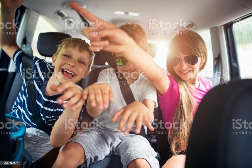 Brüder und Schwestern genießen, mit dem Auto anreisen – Foto