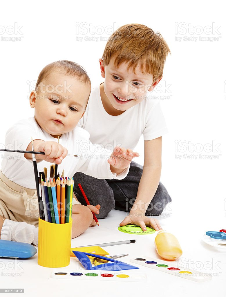 Brothers drawing royalty-free stock photo