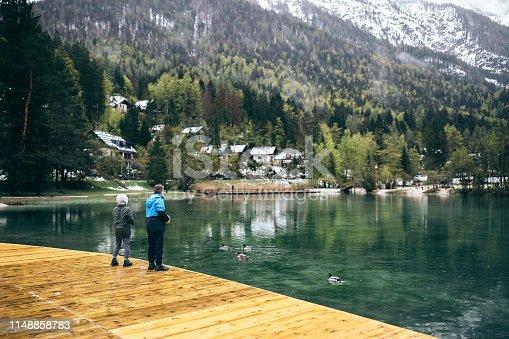 Brothers feeding ducks by lake