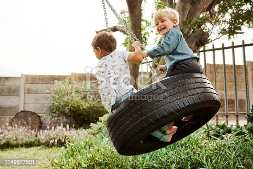 Shot of two adorable little boys playing on a swing together outdoors