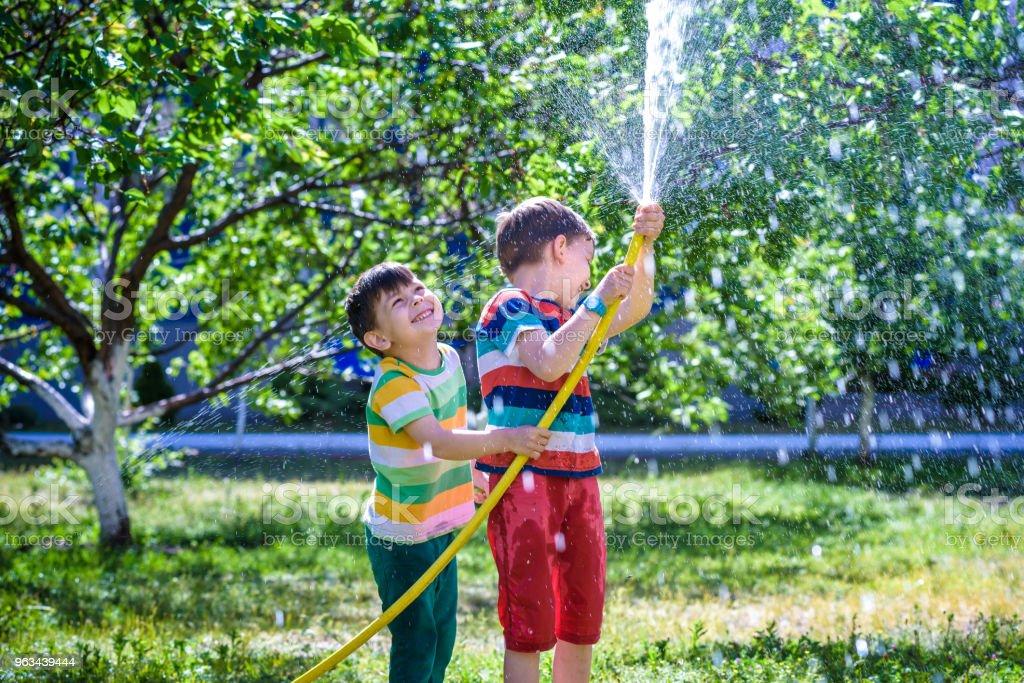 Brothers having fun splash each other with water in the village - Zbiór zdjęć royalty-free (Brat)