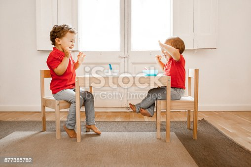 istock Brothers having lunch together 877385782