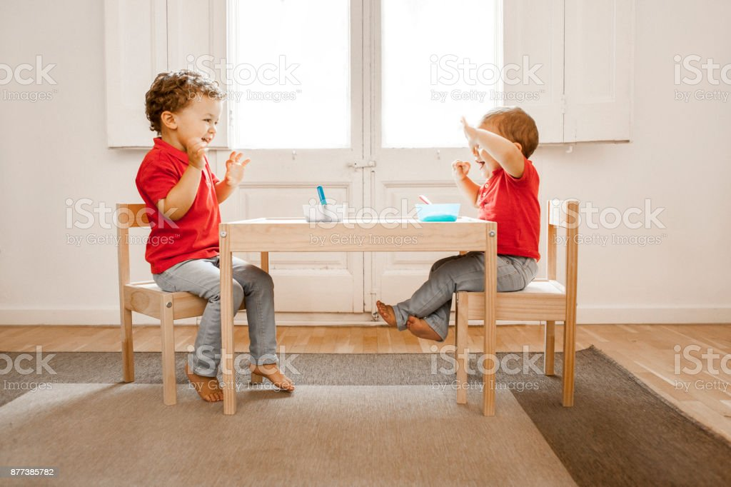 Brothers having lunch together stock photo