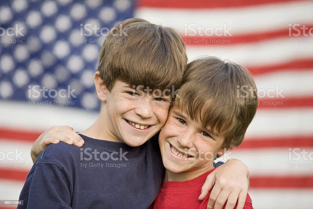 Brothers Hugging royalty-free stock photo