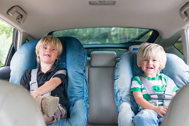 Brothers In Car Seats stock photo