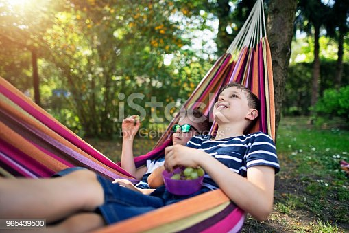 Little boys aged 8 are eating grapes on hammock. Kids are just being lazy on a sunny summer day. Nikon D850