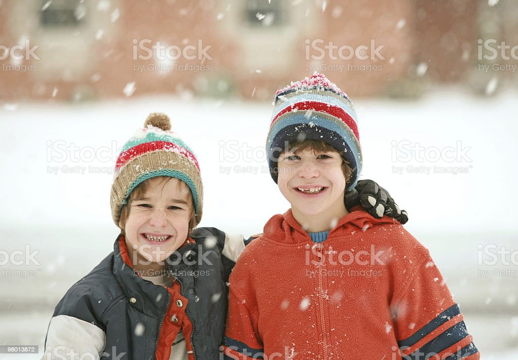 Brothers on a Snowy Day royalty-free stock photo