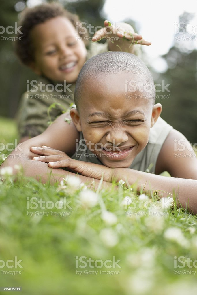 Brothers playing in grass royalty-free stock photo