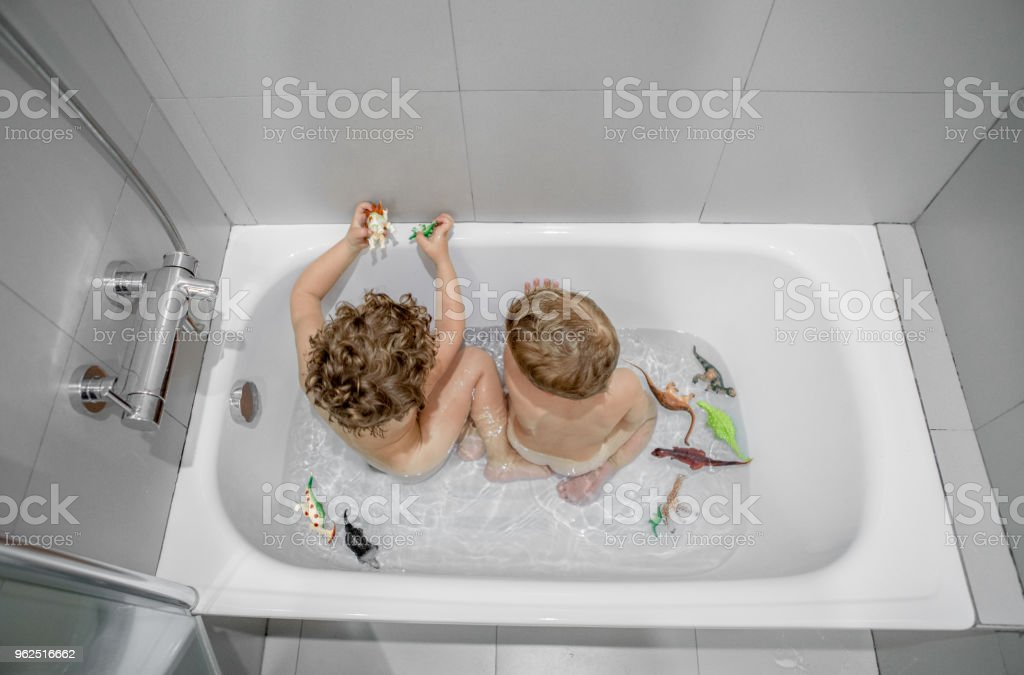 Brothers playing in the bathtub - Royalty-free 18-23 Months Stock Photo