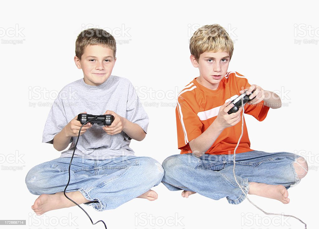 Brothers Playing Video Game stock photo