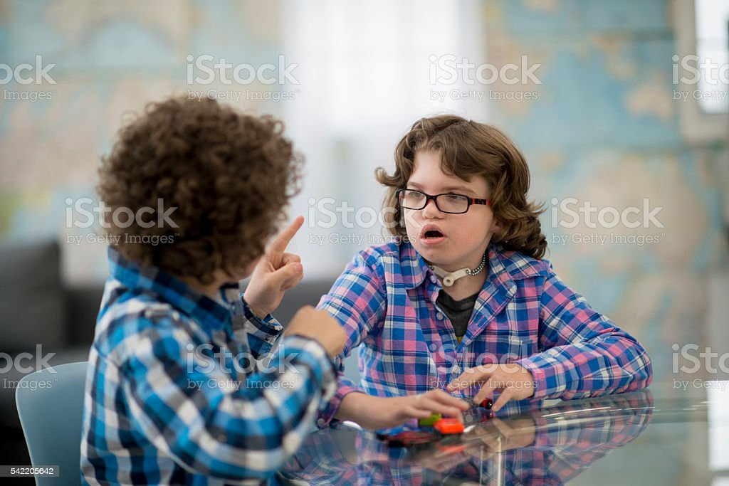 Brothers Speaking with Sign Language stock photo