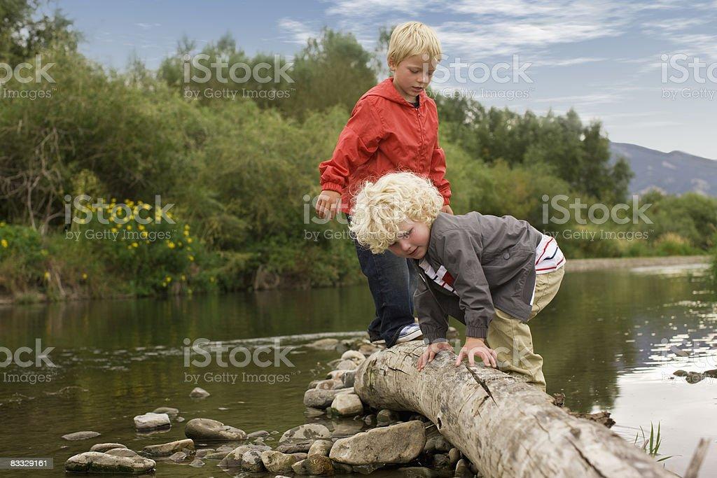 Brothers walking across tree trunk royaltyfri bildbanksbilder